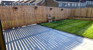 Light Grey Porcelain Paving, Planters, Turf & Fencing