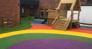 Gosforth Play Area, Wet Pour and LazyLawn Wonder Yarn 36mm